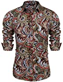 COOFANDY Men's Floral Print Button Down Casual Long Sleeve Hawaiian Retro Flower Shirt(Wine Red,L)