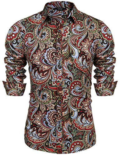 COOFANDY Men's Paisley Cotton Long Sleeve Shirt Floral Print Casual Retro Button Down Shirt