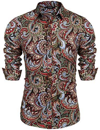 COOFANDY Men's Floral Print Button Down Casual Long Sleeve Hawaiian Retro Flower Shirt(Wine Red,L)