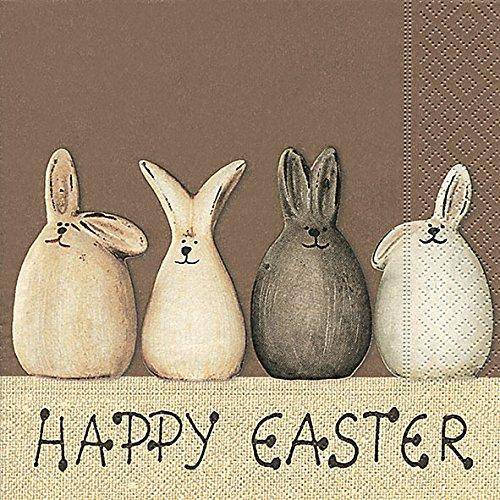 20 Servietten Happy Easter Bunnies – Happy Easter Hasen/Ostern/Frühling 33x33cm