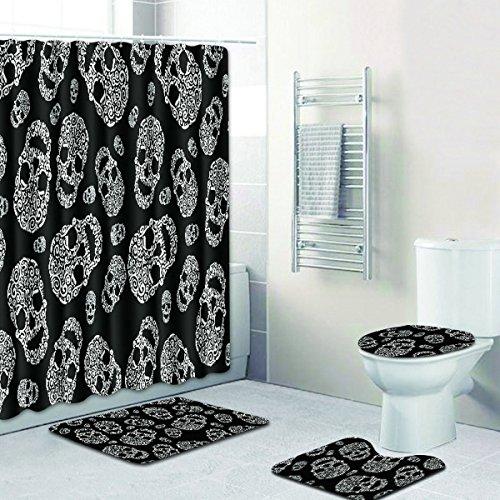 RedBeans, set da bagno con teschio in stile vintage, impermeabile, tenda da doccia, tappetino antiscivolo, copriwater e tappetino per il bagno, 4 pezzi