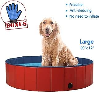 SURPCOS Foldable Dog Pool - Folding Dog/Cat Bath Tub - Collapsible Pet Spa Whelping Box