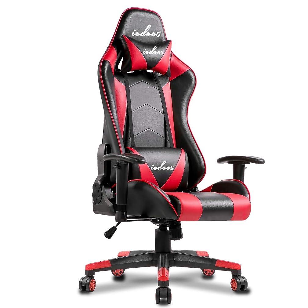 IODOOS ゲーミングチェア ハイバック gaming chair パソコンチェア 180度リクライリング 上下昇降機能10cm 高級感PUレザー ヘッドレスト付き ランバーサポート付き 肘掛 昼寝チェア(レッド)20A