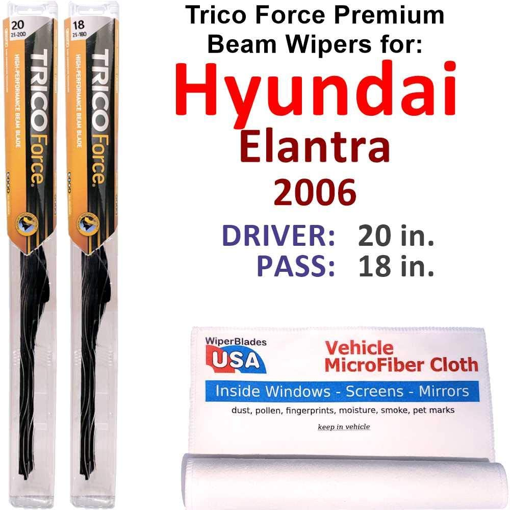 Premium Beam Wiper Blades for 2006 Elantra 価格交渉OK送料無料 売店 Trico Set For Hyundai