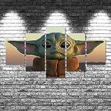 GUOJUNKE Impresiones En Lienzo con Baby Yoda Star Wars Sunset Mandalorian Lienzo Pinturas Póster Pared 5 Paneles Decoración del Hogar Sala De Estar Abstracta