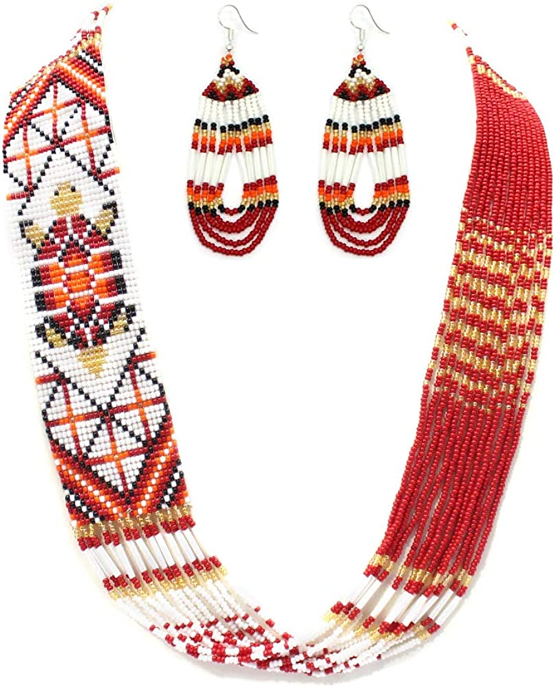 Handmade RED Golden White Beaded Layered Turtle Necklace Earrings Jewelry Set S38/14