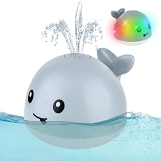 Baby Bath Toys, Whale Automatic Water Spray Bath Toys (with LED Lights), Induction Sprinkler Bathtub Baby Bath Toys (Boys,...