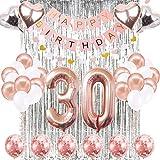 SUNPAT Decoraciones de Cumpleaños Número 30 Banner Globo Decoraciones de Cumpleaños Número 30 Artículos de Fiesta Regalos Para Mujeres Globos Número 30 de Oro Rosa, Globos de Confeti de Oro Rosa