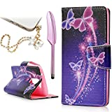 LG K7 Case, LG Tribute 5 / LG M1 Case - Mavis's Diary Fashion Wallet PU Leather Magnetic Flip Cover with Card Holders & Soft TPU Inner Case Colorful Bling Butterfly Pattern with Dust Plug & Stylus