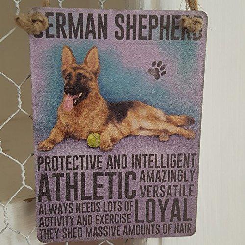 Plaque murale décorative décorative en métal pour chien berger allemand - Pour protéger et intelligent, Athlétique, remise de quantités massives de cheveux
