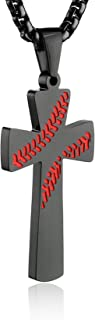 "HZMAN Baseball Cross Pendant, I CAN DO All Things Strength Bible Verse Stainless Steel Necklace 22+2"" Chain"