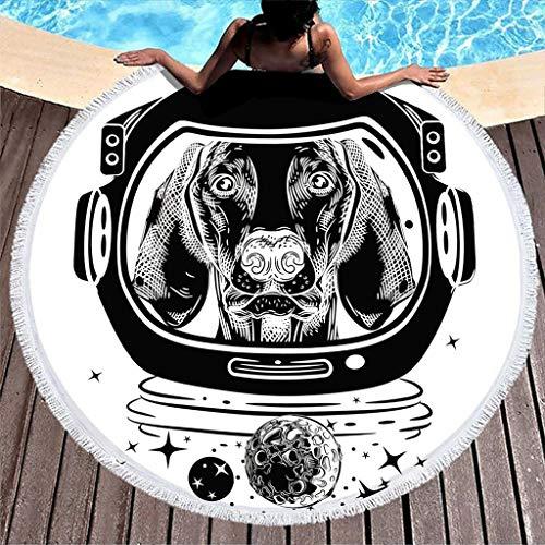 Lolyze - Manta para perro, astronauta redonda, para la playa, para hacer yoga, meditación, fácil lavado, Fibra de poliéster, blanco, talla única
