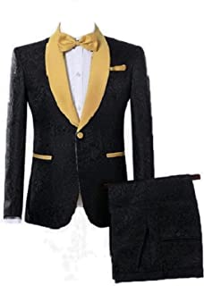 DGMJ Slim Fit 2 Piece Suit for Men One Button Shawl Lapel Tuxedo Wedding Suit Jacket for Men XZ043