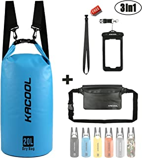 KACOOL Waterproof Dry Sack Bag 20L Floating Lightweight Backpack Water-Resistant Beach Bag with Detachable Strap, Waterproof Waist Pouch and Phone Case (Perfect for Kayaking/Canoeing/Rafting/Boating)