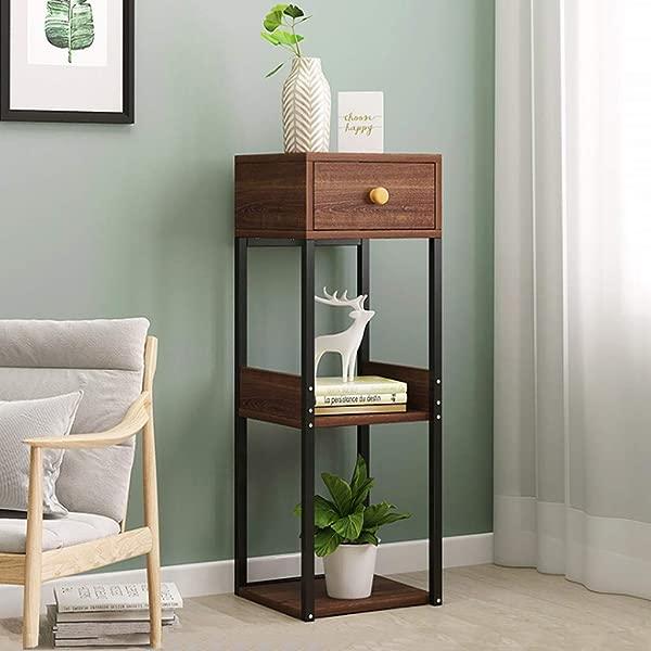 Fiudx Corner Table Fashion Simple Shelf Floor Racks Living Room Balcony Storage Table Storage Shelf 11 11 31 5in