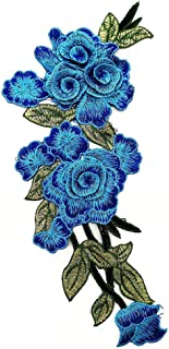 Bomcomi 3D Embroidery Flower Shaped Collar Bust Patches Polyester clothes patches Patching Accessory for Clothes blue