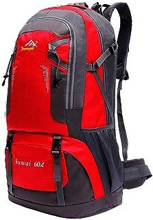 Mochila de 60 litros para Senderismo Marcha de Montaña Trekking Camping Deporte al Aire Libre ergonómica Roja