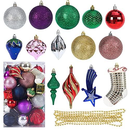 Bolas de navidad 60Pcs de adornos de árbol de Navidad inastillables colgantes adornos de Navidad multicolores conjunto de bolas colgantes para la decor del banquete de boda de vacaciones de Navidad