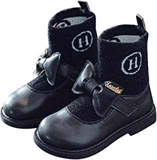 Hopscotch Girls PU Applique Bow Buckled Ankle Length Boot in Black Color