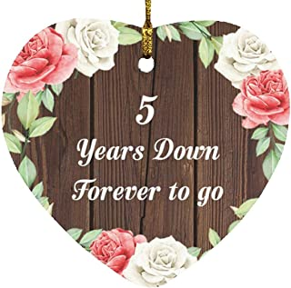 5th Anniversary 5 Years Down Forever to Go - Heart Wood Ornament A Christmas Tree Hanging Decor - for Wife Husband Wo-Men ...