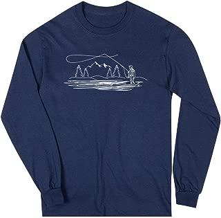 Fly Fishing Long Sleeve T-Shirt | Fisherman Sketch