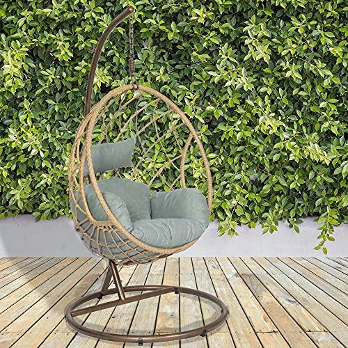 GardenCo Milan Hanging Egg Chair - Outdoor and Indoor Rattan Weave Swing Hammock - Hanging Stand (Natural)