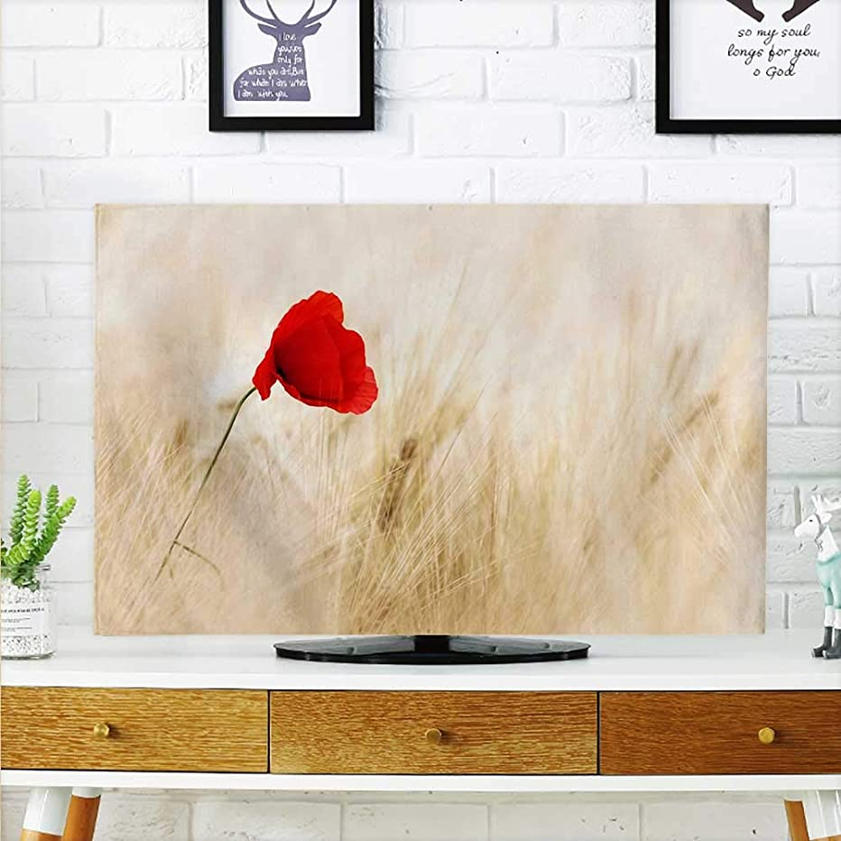 aolankaili Cover for Wall Mount tv A red Flower in a White Plant Cover Mount tv W36 x H60 INCH/TV 65