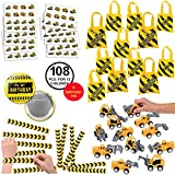 108 Piece Construction Favors Party Supplies Pack Birthday Bundle for 12 Kids