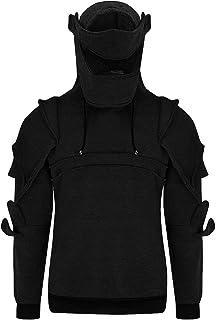 Men Tactical Hoodie Vintage Masked Rivets Fashion Black Long