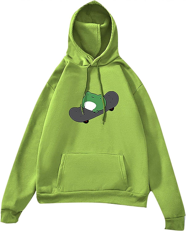 Hoodies for Women Sweatshirt, Women's Pullover Oversized Frog Graphic Sweatshirts Casual Tunics Workout Tops Jacket