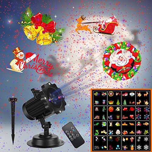 Christmas Lights,UNIFUN 16 Patterns LED Projector Lights with red and Blue Star, Waterproof Landscape Light for Celebration Halloween,Christmas,Birthday and Party Decoration