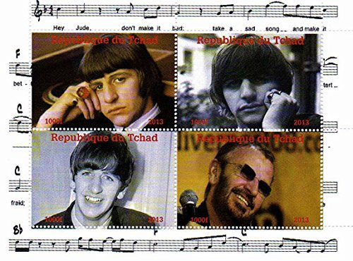 I francobolli Beatles - Ringo Starr - 4 Foto del leggendario Beatle - Menta e minifoglio smontato con 4 francobolli