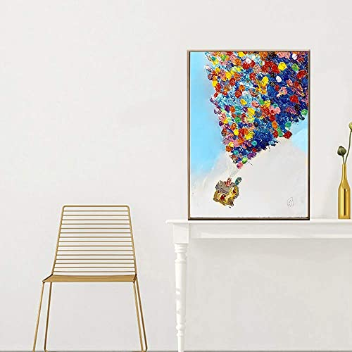 Hay más marcas de productos de alta calidad. QIAISHI Oil Up Air Balloon House Paintings Paisaje Paisaje Paisaje sobre Lienzo caligrafía Pintura Fotos para Niños decoración de la habitación  suministro directo de los fabricantes