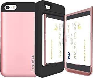 iPhone SE Case, iPhone SE Card Case SKINU [EUREKA] [Rose Gold] [Shockproof] [Dual Layer] [Card Slot] [Drop Protection] [Wallet] with Mirror For iPhone SE (2016) / iPhone 5 / 5s - Rose Gold