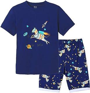 MyFav Big Boys Cute Cartoon Pajamas Summer Cotton Short Set Kids Pjs Sleepwear