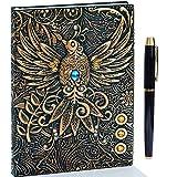Diario de piel en relieve vintage con juego de bolígrafos dorados,A5,hecho a mano,cuaderno de bocetos, diario de viaje y cuaderno para escribir, regalo para mujeres y hombres