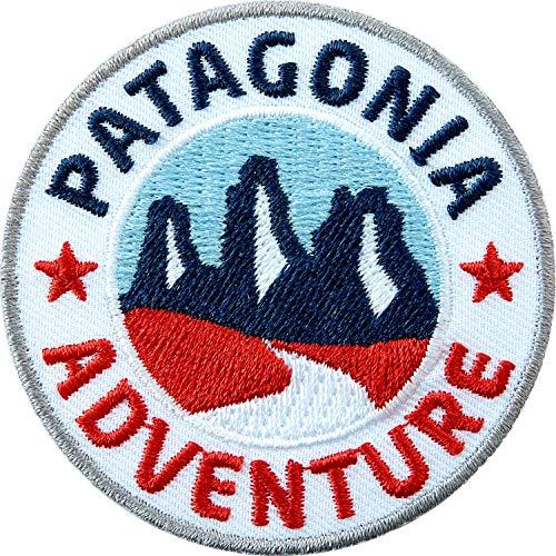 Club of Heroes 2 x Patagonien Abzeichen gestickt 60 mm/Patagonia Adventure/Südamerika Chile Argentinien Trekking Wandern Reise Torres del Paine/Aufnäher Aufbügler Sticker Patch/Reiseführer Buch Karte