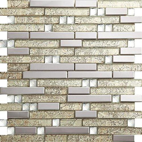 NEW !Lucente Mosaico allungata Tailles mixtes mosaico quadrato Vetro e acciaio inox mosaico mattonelle arte della parete 300*300mm--Cucina Backsplash/Parete da bagno/decorazione domestica(SA047-15/17/26/33) (11 tappetini /m², SA047-26)