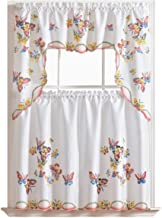 GOHD - 3pcs Kitchen Curtain/Cafe Curtain Set, Air-brushed By Hand of Flying Butterfly Design (swag & 36
