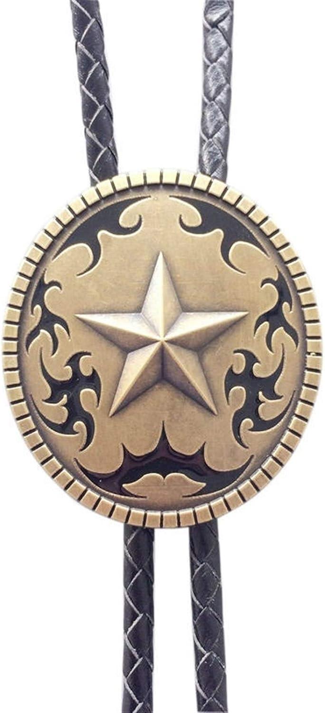 BOLO-Bolo tie Pendant, Vintage Copper-Plated Oval Star Bolo tie Pendant, Fashionable Men's Necklace, Western Denim Men's Novel tie, Suitable for Men and Women's Clothing Accessories