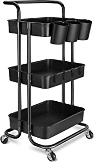 3-Tier Rolling Mobile Utility Cart with Hanging Cups & Hooks & Handle Multifunctional Organizer Storage Trolley Service Ca...