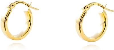 Orecchini a cerchio da donna 13.5x3 mm - oro giallo 18K (750)