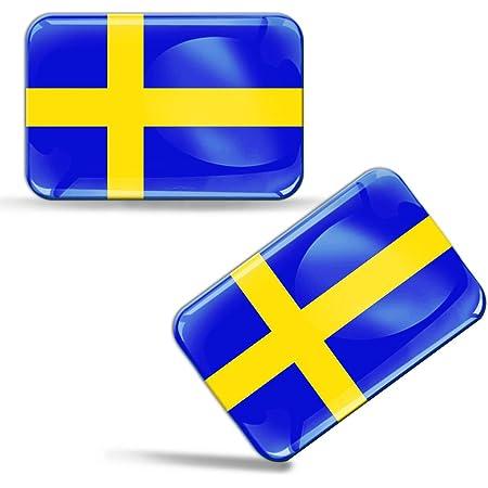 Biomar Labs 2 X Aufkleber 3d Gel Silikon Stickers Sweden Schweden Schwedische Flagge Fahne Flag Auto Motorrad Fahrrad Fenster Tür Pc Handy Tablet Laptop F 47 Auto