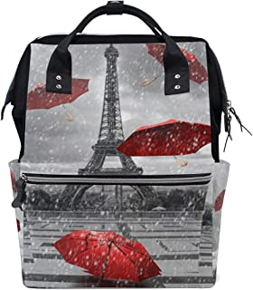 Backpack for Men Women, Eiffel Tower with Flying Umbrellas Casual Water-Resistant College School Backpack