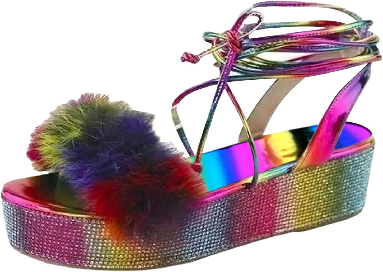 PLENTOP Women's Crystal Platforms Wedges Sho Ankle Outlet ☆ Free Shipping Dedication Sandals Strap