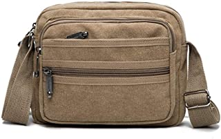 Sports Outdoor Canvas Messenger Shoulder Bag, Men and Ms Casual Wear Resistant Crossbody Sling Bag for Work, School, Traveling and Daily Use (Size: 25 * 6 * 19CM) (Color : Khaki)