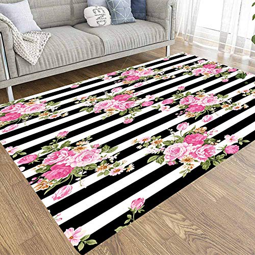 Pamime Soft Area Rug,Modern Area Rug Abstract Tropical Plants Flowers Floral Pattern Pink Style Striped Black White Background 5X7 Art Area Rug for Living Room Bathroom Area Rug