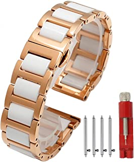 Quick Release Ceramic Watch Band Replacement Stainless Steel Watch Bracelet Deployment Clasp Metal Watch Strap for Men Women 16mm/18mm/20mm/22mm