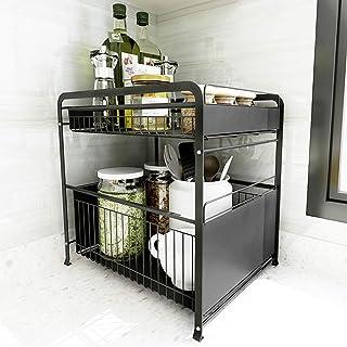 ZYHA Cuisine sous évier étagère de Rangement Double Couche,Organisateur de Cuisine réglable,Maison Cuisine Salle de Bain S...