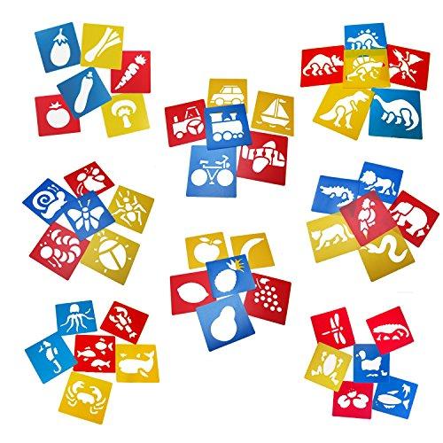 Tebery 48 Zeichenschablone Tiere Mitgebsel Kunststoff Malerei für Kinder (48P)